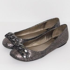 "Fergalicious  ""Locket"" Metallic Flats/ Size 7.5"